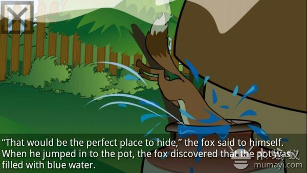 """婴幼儿睡前故事系列第一集,中英双语字幕,英文朗读适合稍大儿童英语听力练习,图画精美,双语字幕,自动播放,点击延迟,防误点击操作,朗读开关。""""蓝色的狐狸""""的故事讲述了一只狡猾的狐狸一次偶然的意外浑身被染成蓝色,森林里的其他动物都被吓坏了,它们没有见过这样奇怪的动物。狐狸耍了个小把戏当时了森林之王,最后森林里的动物发现被狐狸欺骗了,它们将狐狸赶出森林的故事。 蓝狐狸手机版截图"""