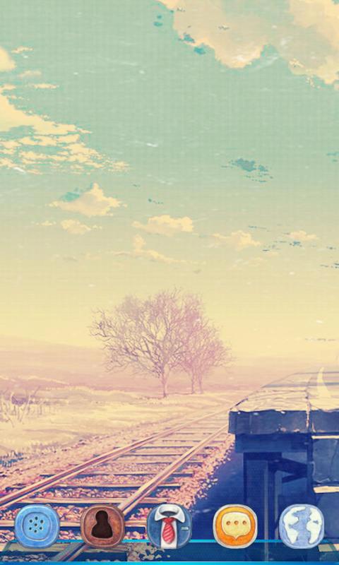 手绘风景图,柔和的色调洋溢着浪漫的气息,笔直的铁路展示着期待相聚