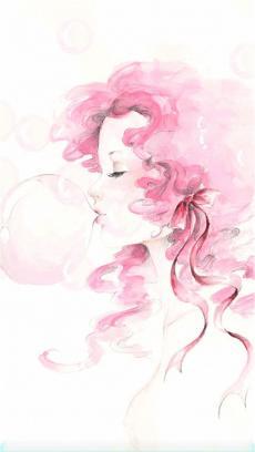 吹泡泡的女孩儿手绘插画欣赏