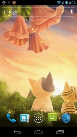 一个温暖的夏日之夜欢迎您的主屏幕有两个可爱的小猫,奇奇和补丁.